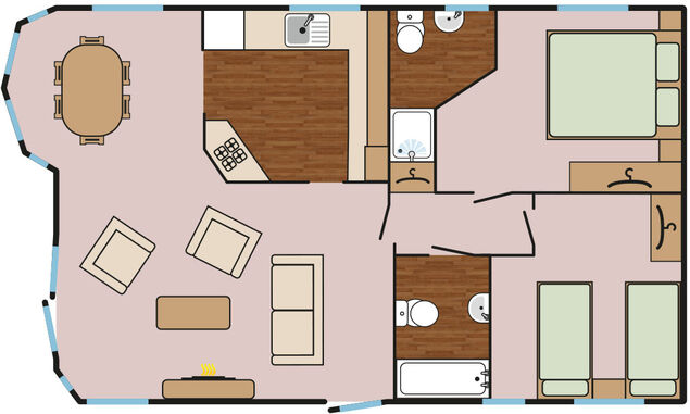 Maple Lodge Plus (2 Bedroom + Hot Tub) Floorplan